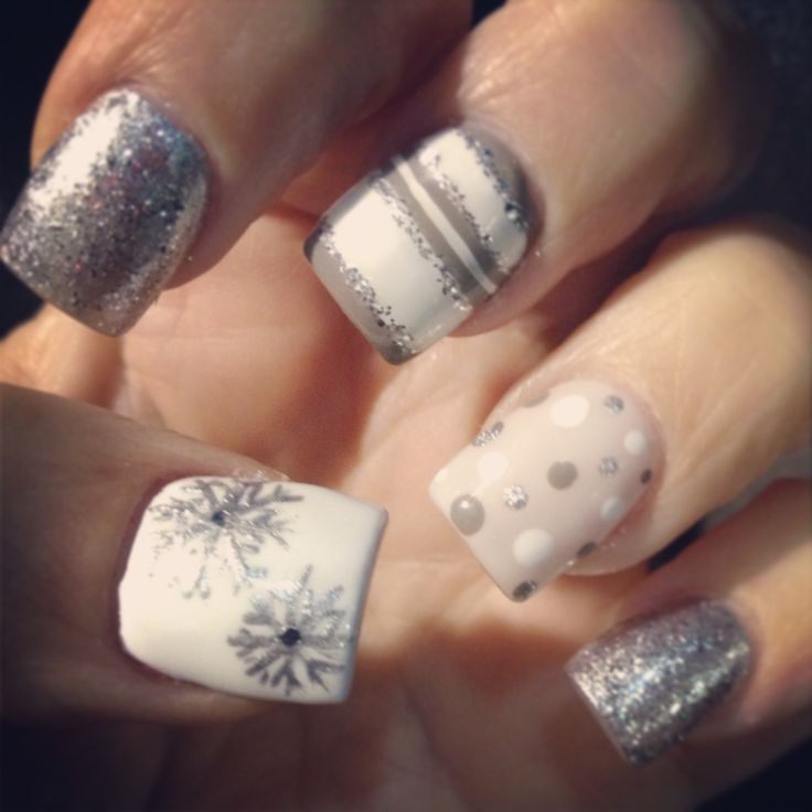 Christmas Acrylic Nails Grey: Grays And White Holiday Nails With Silver Glitter, Stripes