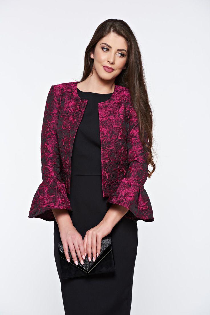 StarShinerS purple jacket elegant bolero from jacquard, women`s bolero, jacquard, fabric with print obtained by braided yarns with natural fibers, bell sleeve, raised pattern, 3/4 sleeves