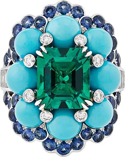 Ancône ring: White gold, round and baguette-cut diamonds, sapphires, turquoise beads, one octogonal-cut emerald of3.28 carats (Colombia). © Van Cleef &Arpels