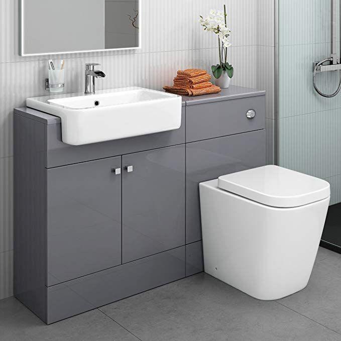 Designer Gloss Grey Basin Sink Toilet Pan Wc Bathroom Rimless Combined Vanity Unit Furni Nebolshie Vannye Komnaty Tradicionnaya Vannaya Mebel Dlya Vannoj Komnaty