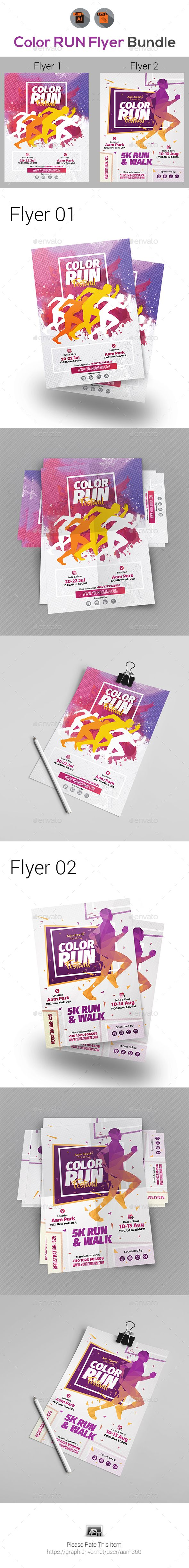 Color Run Festival Flyers Bundle - Templates Vector EPS, AI Illustrator