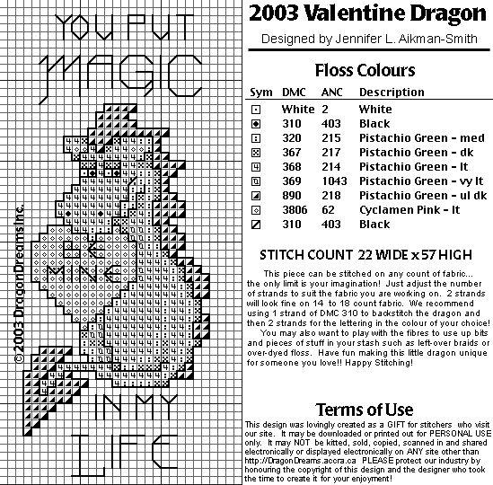 Biscornu Free Charts   Dragon's dream 2003 Valentine dragon