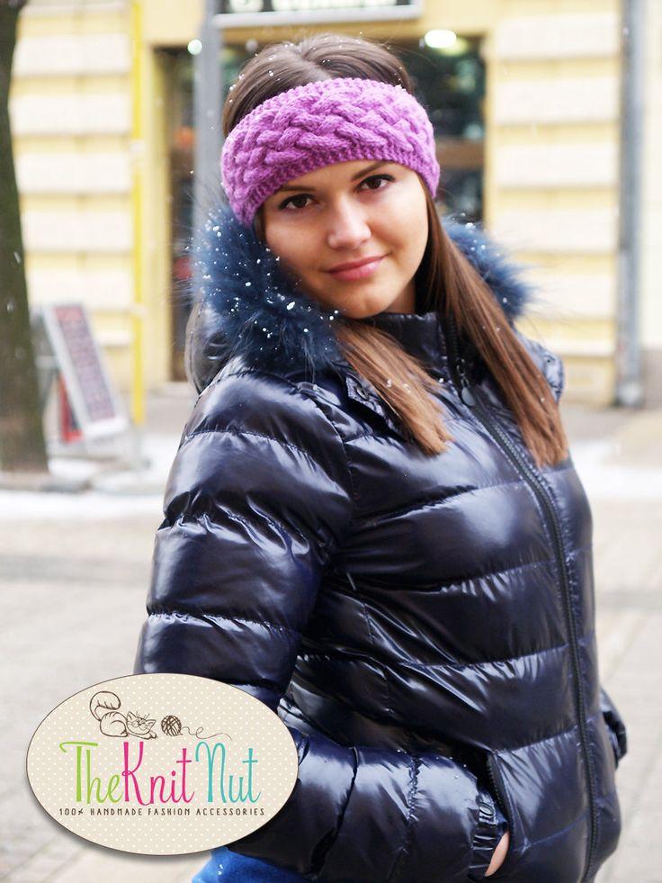 Winter knitted headband, Winter Ear Warmer, Knitted Ear Warmer, Knitted Head Wrap, Chunky Knitted Winter Head band, Purple Knit Head Wrap - pinned by pin4etsy.com