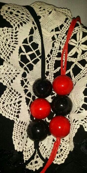 Long #necklace Red & Black - To order email offthewallquirky@gmail.com