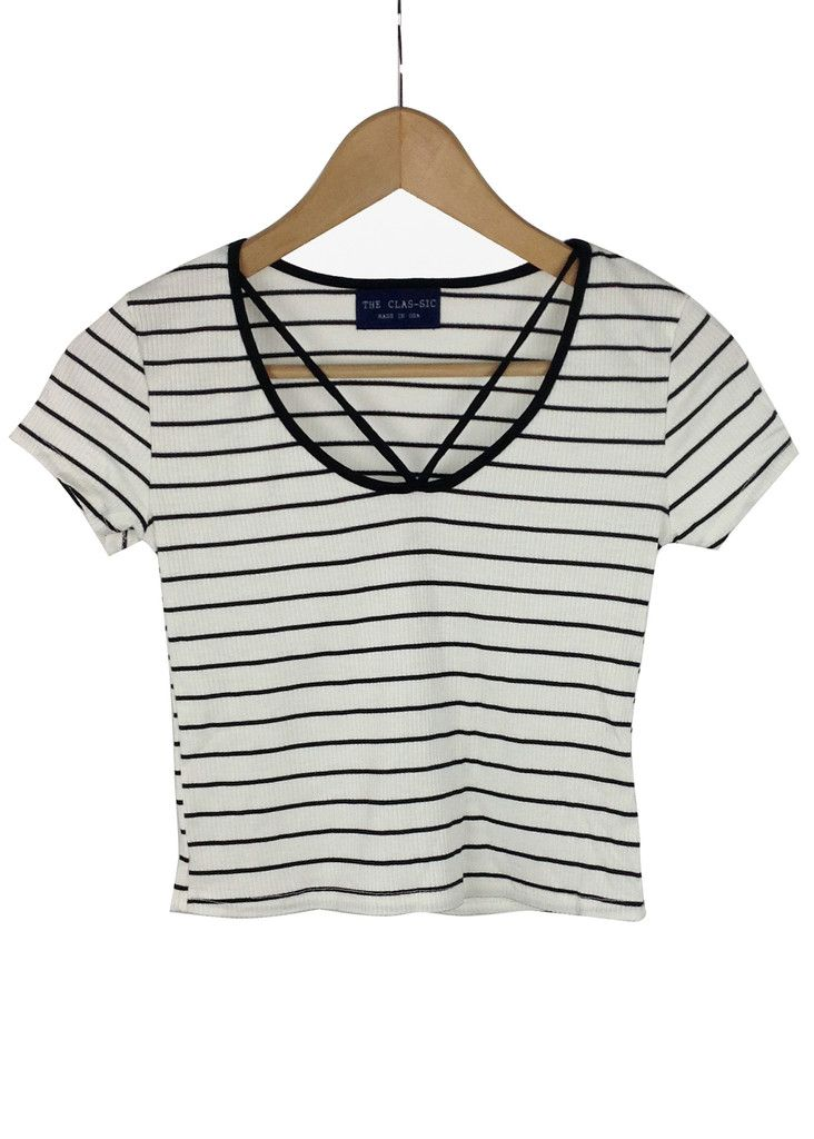 melanie striped crop top (white)