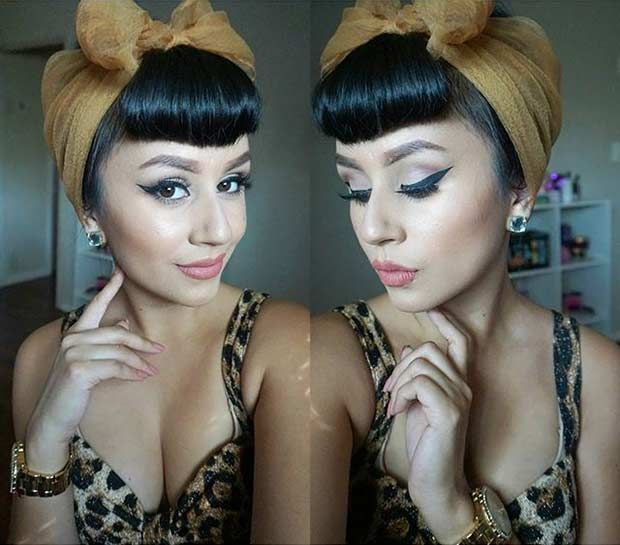 Cute Pin Up Inspired Updo with a Scarf