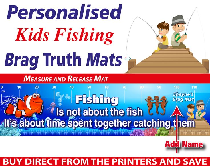 Wholesale Printers,  - Personalised Kids Fishing Brag Truth Measure and Release Mat, $19.95 (http://www.wholesaleprinters.com.au/personalised-kids-fishing-brag-truth-measure-and-release-mat/)