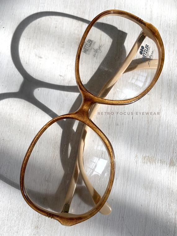 70's Oversized Eyewear Glasses Eyeglasses Frames Vintage Gold Dust Caramel Brown by Metzler Made in Germany Wide Frame NOS 58-16-140 – Products