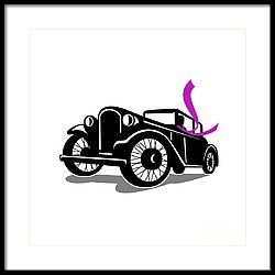 Vintage Coupe With Flowing Scarf Retro Framed Print by Aloysius Patrimonio