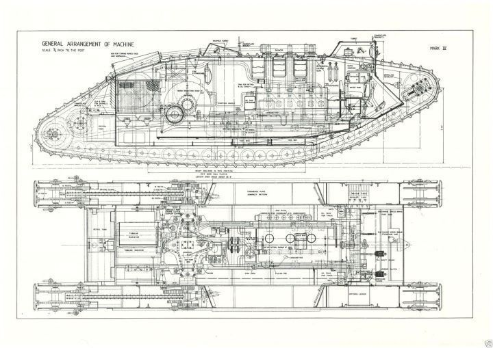 Wwi mk iv tank blueprint plan drawing rare detail large a2 for Cistern plans