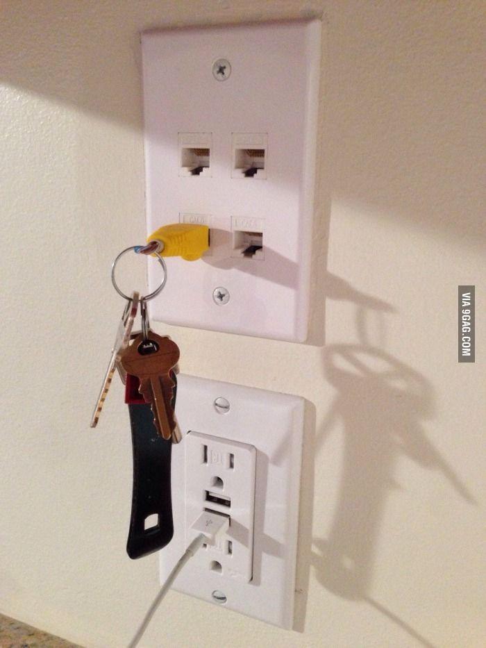 """Wife kept losing her keys, so I made her this key rack."" - 9GAG"