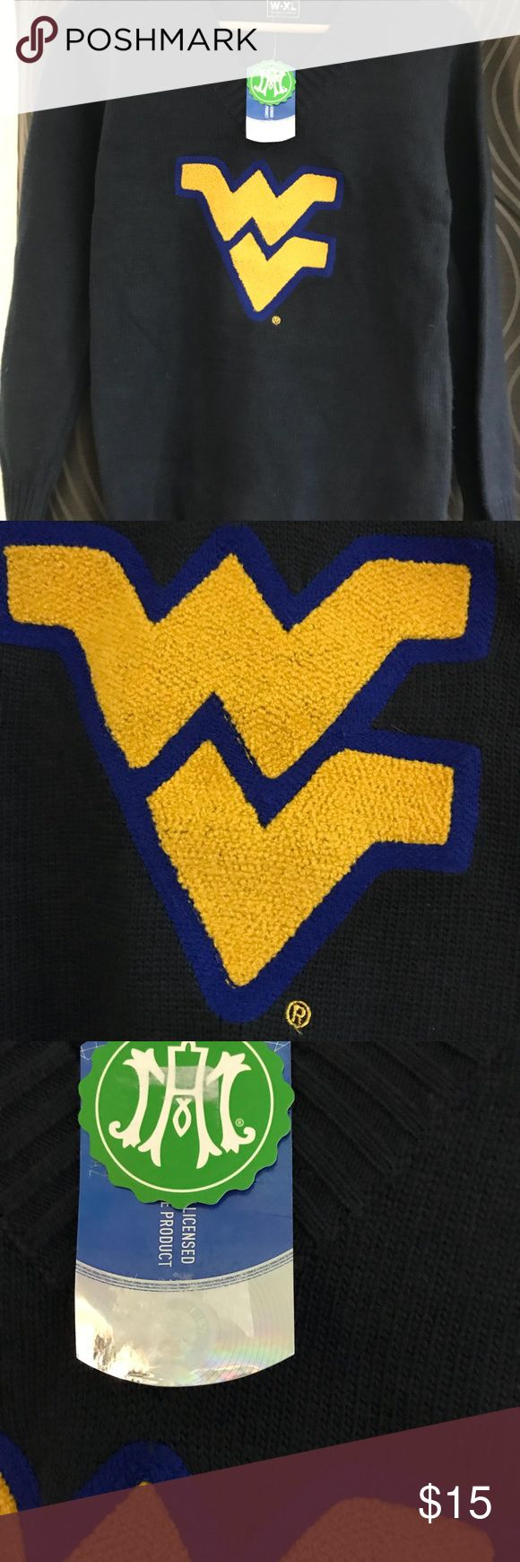Alma Mater West Virginia Ladies Cheer Sweater Alma Mater West Virginia Ladies Cheer Sweater. Long sleeve with WG letter on front V Neck  38 % Polyester 34% Nylon 23% Rayon 5% Angora. New never condition still with tags. Alma Mater Sweaters V-Necks