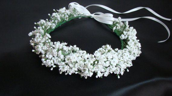 White Bridal Flower Head Wreath by SusanCarolBridal on Etsy, $69.00