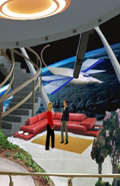 A future space station and world from Cosmos Quest.