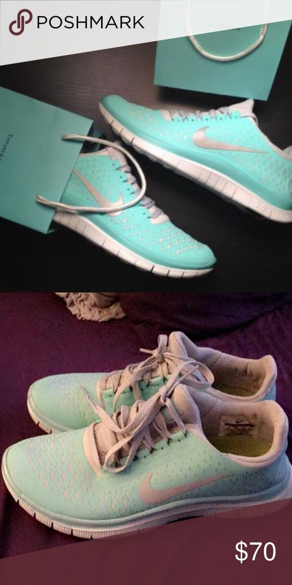 Tiffany Blue Nike Free Run in Tropical Twist Popular color for the Nike Free Runs. Tropical twist/Tiffany blue color. These have been worn only a handful of times, some wear on the bottom but otherwise are as good as new. Nike Shoes Athletic Shoes