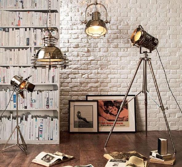 brick + industrial lamp + bookcasewallpaper