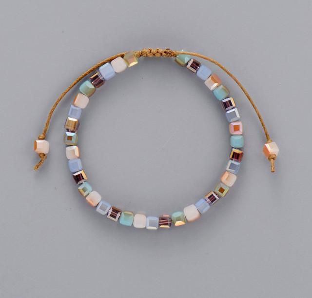 Classic Square Crystal Bead Bracelet
