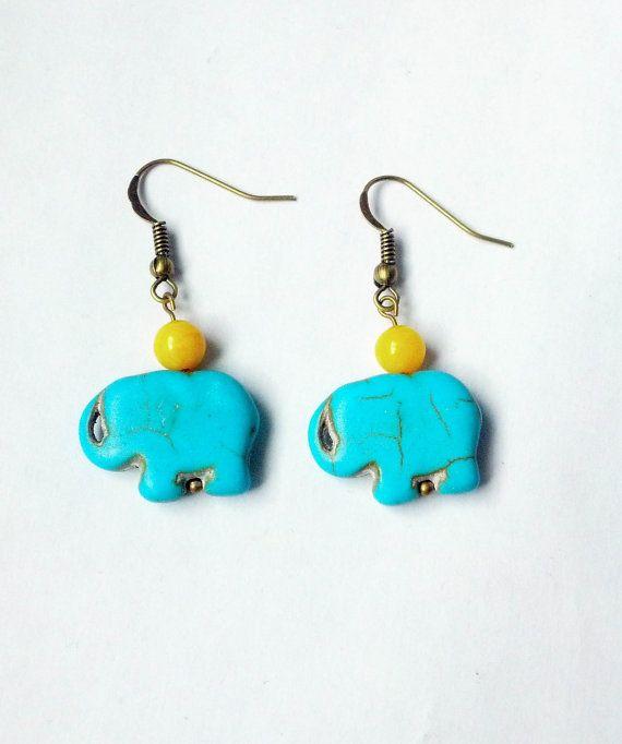 Elephant earrings Turquoise Elephant EarringsBronze by CatiShop