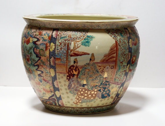 Hand painted satsuma gold fish porcelain chinese planter for Chinese fish bowl planter