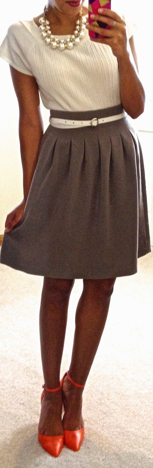 Hello, Gorgeous!: threads./ Cute skirt. Love the pleats and the pop of orange.
