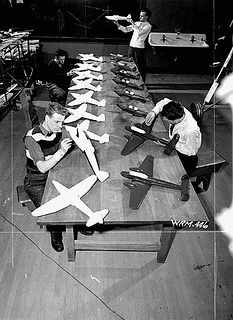 Students construct model aircraft at the Ottawa Technical School, Ottawa, Ontario, Canada, February 1941. #vintage #school #1940s