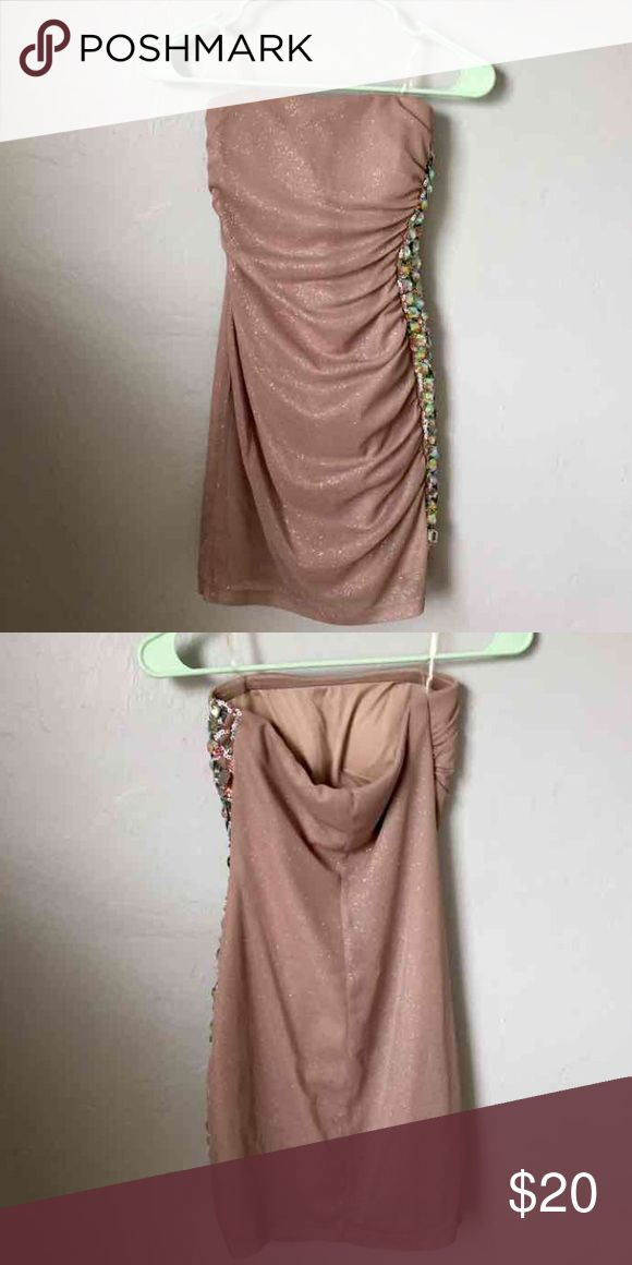 Nude Bodycon Dress Strapless bodycon dress, nude with sparkles. Worn once. Dresses Mini
