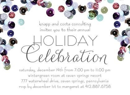 Sequin Shower - Corporate #Holiday Party Invitations in Reef BlueSequins Shower