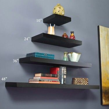 Use different length floating shelves to create interesting wall storage display solution for your cologne,  perfume, fragrances fragrant collection. Would look great in our master bedroom.