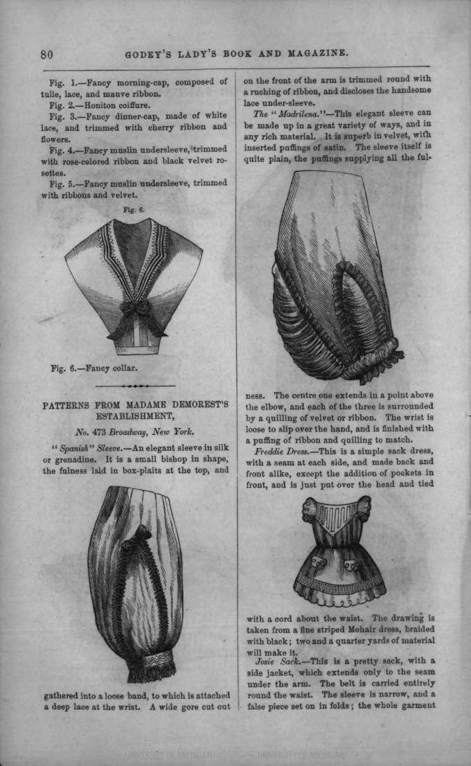 Sleeves from Godey's civil war era