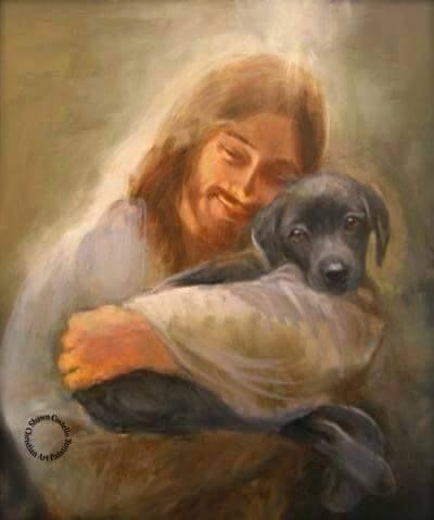 I have never found a picture of Christ with a pet prior to this painting. It is such an amazing inspired work of art thatshows our Savior caring for our beloved pets that have passed on.