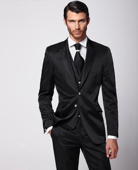 2018 New Design Of The Groom S Dress Black Suit Wedding Best Man Men Slim Pants Jacket Tie Vest