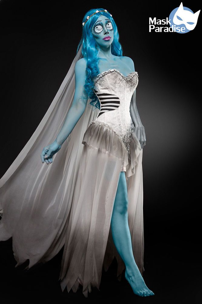 Corpse Bride Komplettset Halloween traumhaftes Damen Kostüm Corsagenkleid