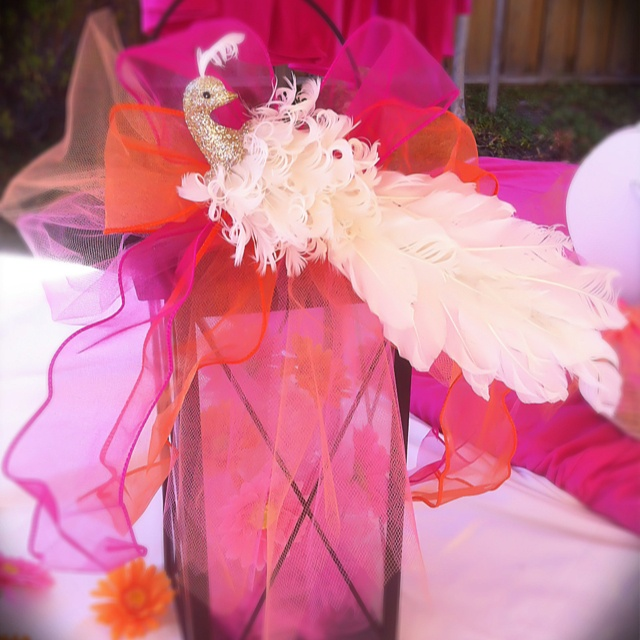Centerpiece Lantern Maybe Wrap With Tulle And Tie Ribbon