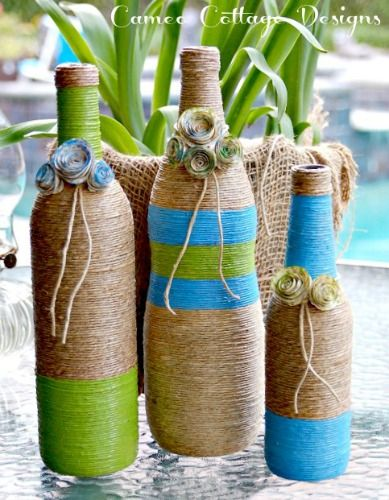 Twine Wrapped Bottles ~ Giving Trash Some Class - I love to recycle bottles. I also love using twine on them. It gives them a bit of a rustic feel and a beachy…