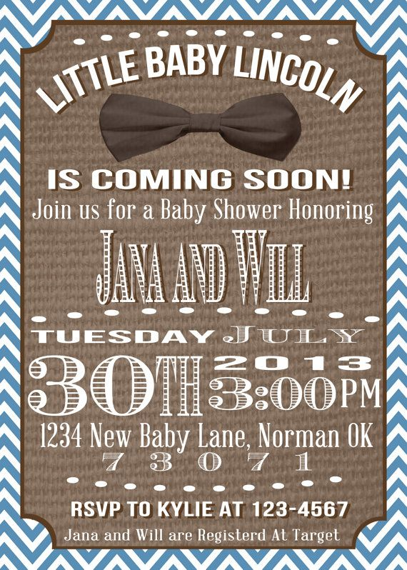 Blue And Burlap Baby Boy Bow Tie Baby Boy Shower Invitation Via Etsy  OKCreativeDesign