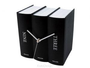 119 Zegar stołowy Book black paper, czarny