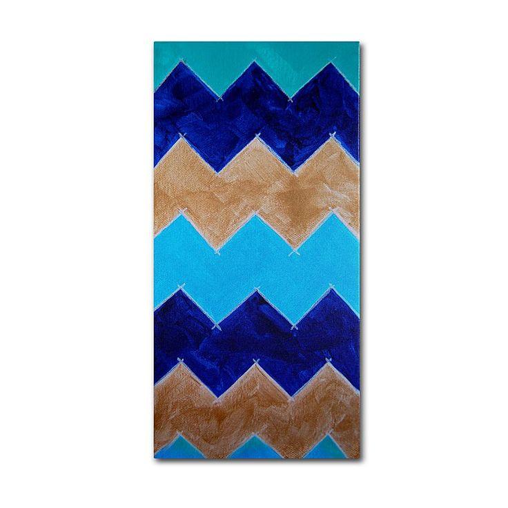 "Home Marketplace Nicole Dietz ""Blue and Gold Chevron"" Canvas Art"