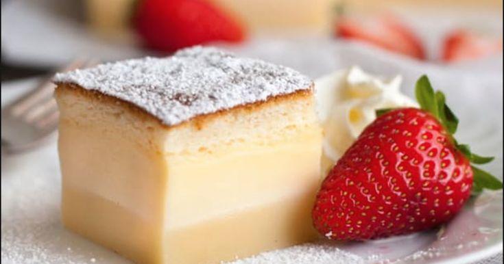 Med en enda smet gör du denna kaka som i ugnen skiktar sig och smeten får 3 olika texturer.