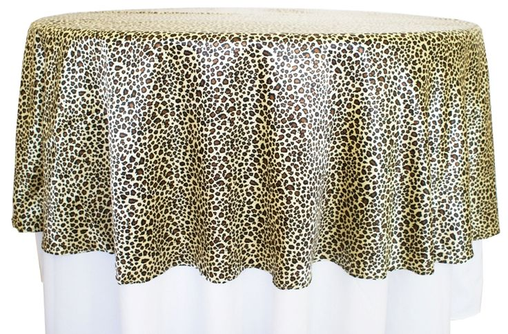 90 Quot Round Leopard Print Satin Table Overlays 80580 1pc
