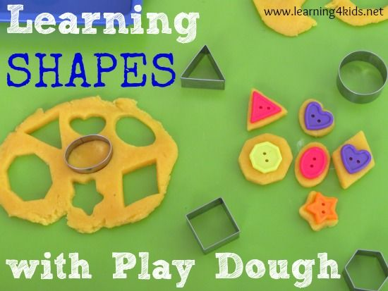 Learning shapes with play dough  A really good blog post with other ideas too
