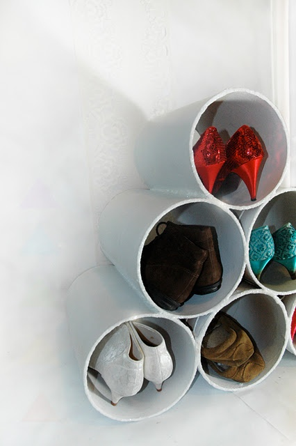 sparkly recycled shoe rack. i made this with cardboard tubes bound for a landfill. <3  www.pyramidcult.com