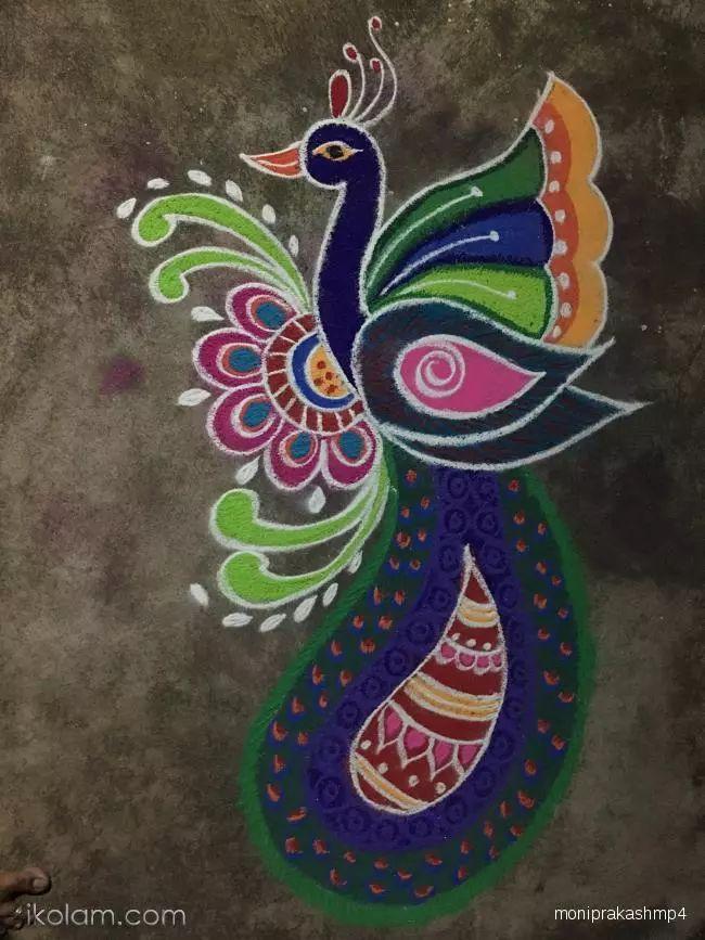 Rangoli peacock rangoli Freehand Rangoli | www.iKolam.com