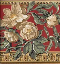 Victorian Tan Floral on Red with Gold Architectural Trim WALLPAPER BORDER