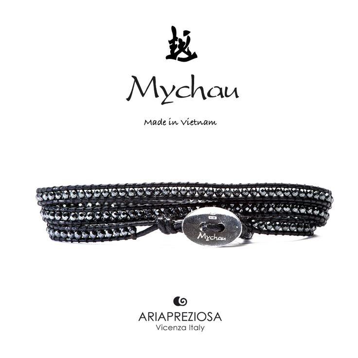 """Mychau - Bracciale Vietnam """"Manh Mai (slim)"""" originale realizzato con pietre naturali calibro 2mm Ematite su base bracciale col. Nero"""
