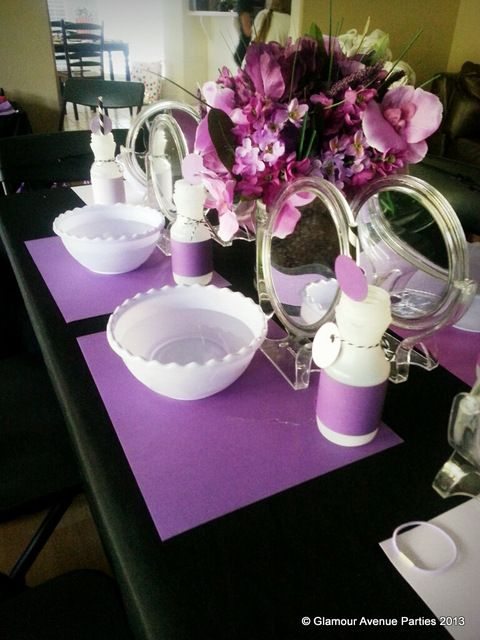 Table at a Purple Spa Party #spa #partytable