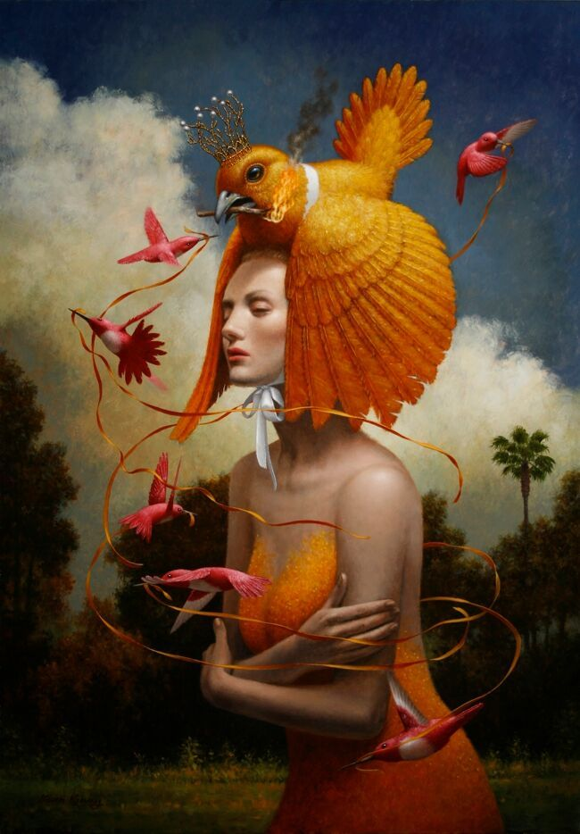 'The Ribbons' by Steven Kenny. Find out more about Steven and see more of his wonderful art in his interview at wowxwow.com. (animals, birds, classical, human condition, metaphor, nature, surreal, surrealism, symbolism, unconscious, wildlife, contemporary art, fine art, new contemporary art)