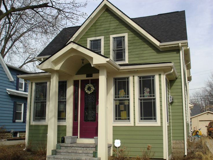 sage green house siding | Green siding, cream trim, black roof, black windows, red door, red ...