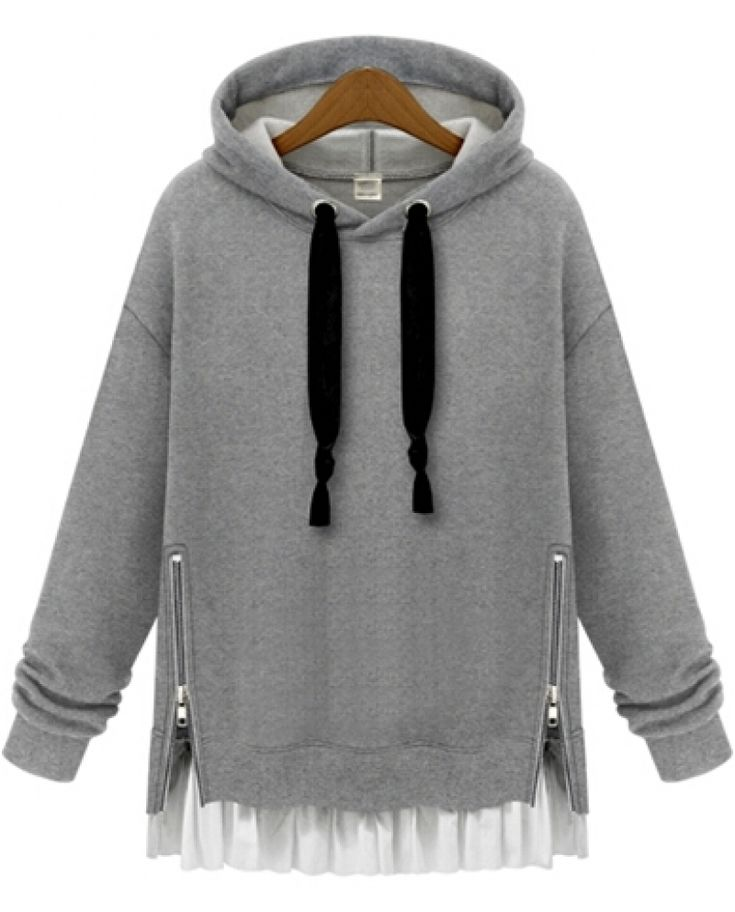 Hooded Zipper Loose Grey Sweatshirt