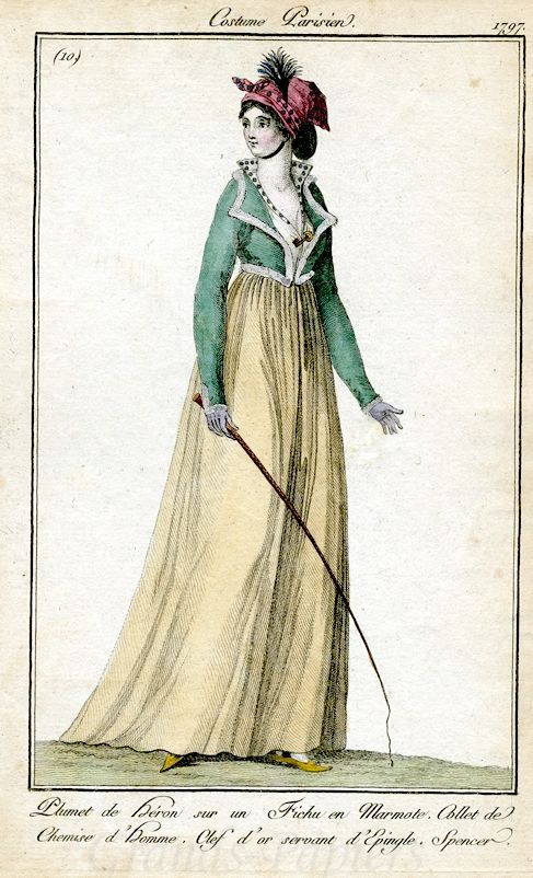 Costume Parisien 1797 - it's so simple, and so fantastic, those bold colours, that cute fur trim, the bandanna AKA fichu en marmote (ha!)...