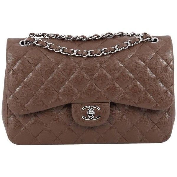 Preowned Chanel Classic Double Flap Bag Quilted Caviar Jumbo ($4,205) ❤ liked on Polyvore featuring bags, handbags, brown, top handle bags, hologram purse, top handle handbags, genuine leather handbags, quilted leather purse and chanel handbags